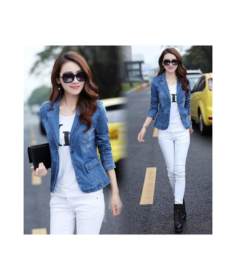 Hot 2019 Elegant Jackets For Women Denim Blazer Short Fashion Slim Blue Suit Coats Plus Size Female Jacket Designs Blazers 3...
