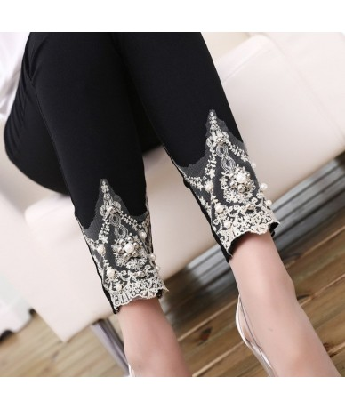 lady spring autumn cotton blended pencil pants casual skinny leggigns slim fitted floral lace capris pink white trousers - B...