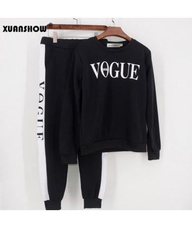 Tracksuit 2019 Autumn Winter Women's Suit VOGUE Letter Printed 0-Neck Sweatshirt + Patchwork Long Pant 2 Piece Set - Black -...