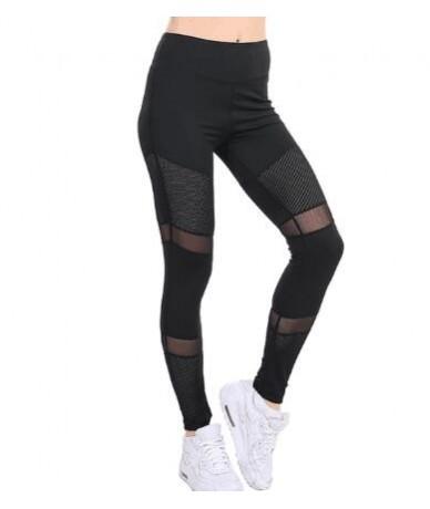 Fitness Pink Leggings Women Spring Ankle-Length Softe Mesh Legging Stitching Hollow Slim Push Up Lady's Legging - Black - 4U...