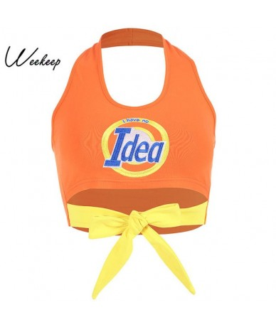 Women Cropped Halter Tank Top Hollow Out Bow Backless Crop Top Summer Streetwear Orange Tank Tops 2019 - Orange - 403074831486