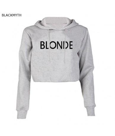 Women's Gray Short Cropped Hoodies Sweatshirt Ladies BLONDE Streetwear Crop Top Feminin - Gray - 463912942486-2