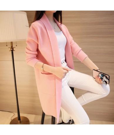 2019 Spring New Wild Loose Long Knitwear Cardigan Women Sweater Coat Long Sleeve Coat Tide 65467 - pink - 463927377982-3