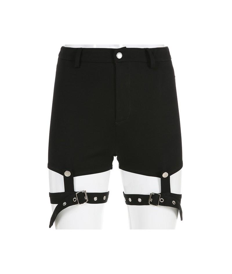 Fashion black slim summer shorts women fitness punk detachable ribbon high waist shorts 2019 bottom short mujer sexy - black...