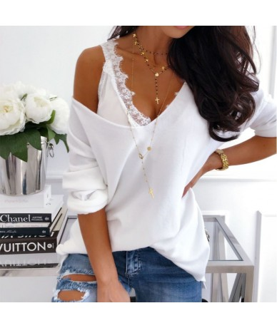 Women Fashion Hot Summer Casual VestTops Lace sheer Sleeveless Club V Neck Sexy top female clothes Blouse Tank top White Bla...