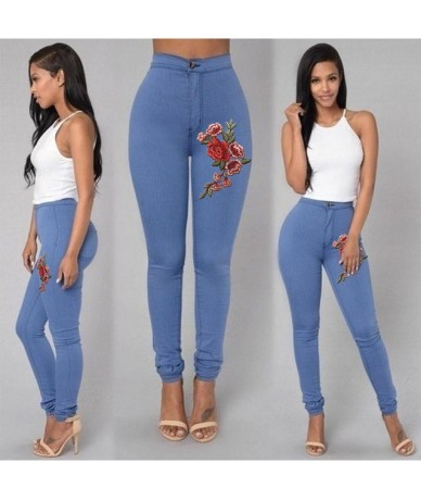 5 Colors Plus Size XXL XXXL Emboridered Jeans Women Black White High Waist Skinny Stretch Pencil Pants Long Slim Leggings Je...