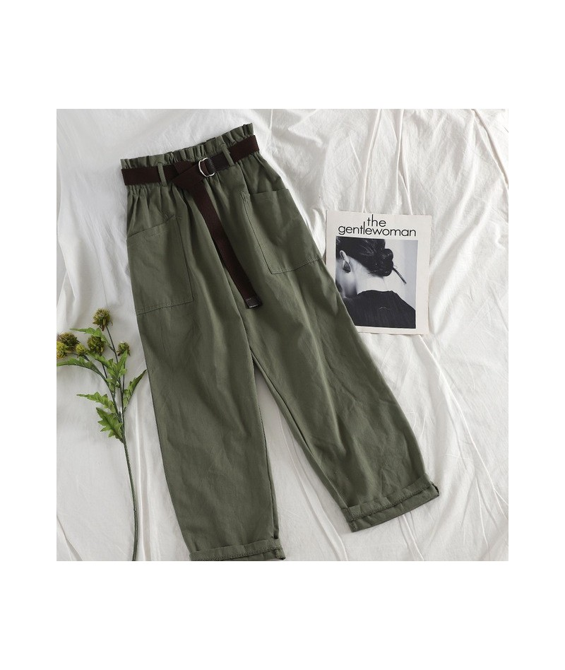 Safari Style Ankle Pant Women Casual Solid Harajuku High Waist With Sashes Fashion Wear Straight Army Green Trouser Bottoms ...