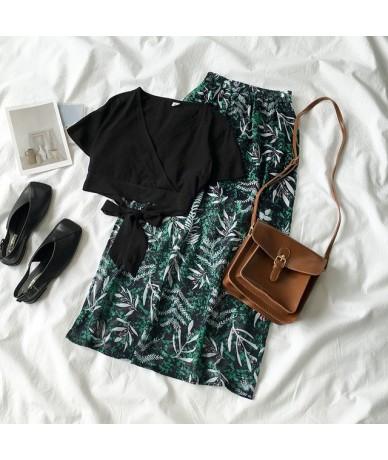 Beach Style Skirt Set Summer 2019 Boho Vintage Two Piece Set Fashion Black Sexy T-shirt + Long Leaves Pattern Skirt Matching...