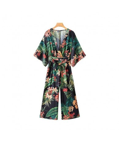 women vintage print pattern long jumpsuit v neck bow tie sashes backless pockets female causal beach wear tops KA655 - as pi...