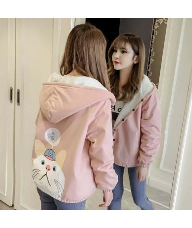 Autumn New Outwear Women Sweet Hooded Long Sleeve Cute Cat Printed Jacket Casual Solid White Pink Jackets - 1 - 4K3089642095-1