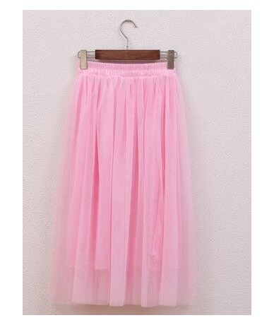 Chiffon one Size Candy Color Pleated Skirt 2017 New Fashion Skirts Solid Mesh Skater Summer Women Sexy Long Skirts - Color11...