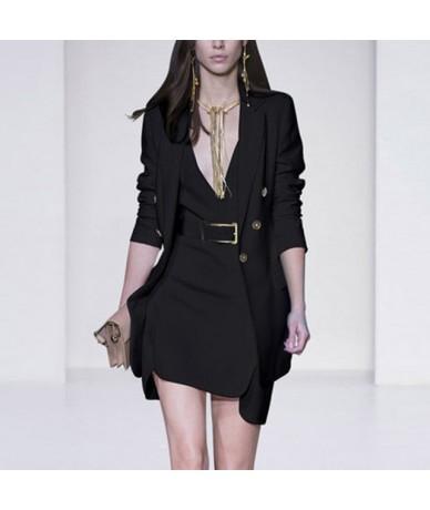 Unique Design Women Elegant Fashion Dress Suits Blazer Jackets Tank Slim Dress 3 Colors Slim OL Formal Twin Sets - Black - 4...