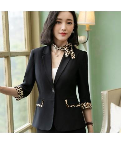 Fashion women Leopard patchwork 2019 Spring summer New casual half sleeve slim jacket office ladies work coat tops - Black b...