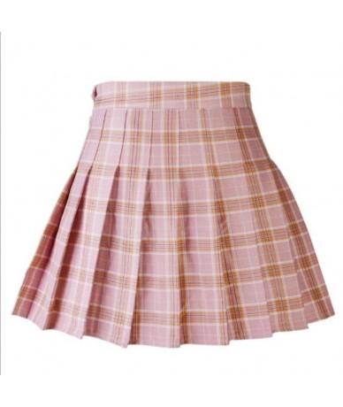 Summer Plaid Mini Skirt Girls High Waist Pleated Skater Skirt A-line School Skirt Uniform With Inner Shorts - Pink - 4039054...