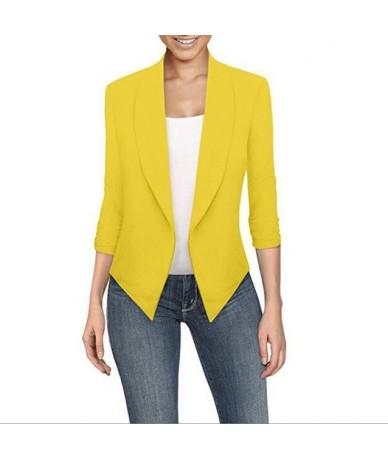 Women Fashion Blazers Female 2019 New Spring Summer Notched Long Seeved Solid Cardigan Irregular Hem 8 Size S-5XL - yellow -...