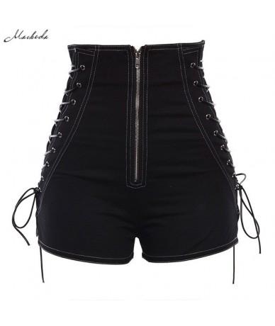 Spring Summer Cowboy Shorts Women Black High Waist Side Lace Up Casual Zipper Shorts Slim Fashion 2019 New Arrival - Black -...