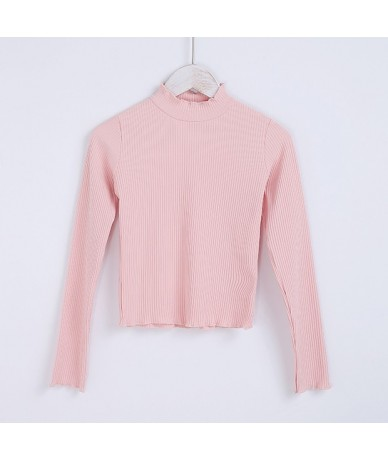 Women Cotton High Neck Long Sleeve Rib Crop Top With Ruffled Trimmings High Neck T-shirt - pink - 4K3937980050-6