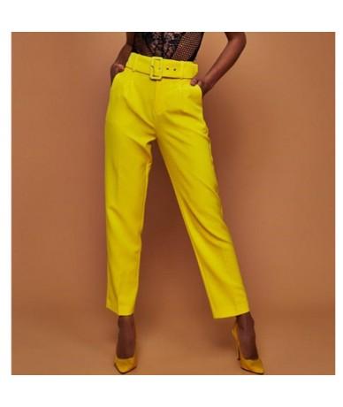 Elegant Women High Waist OL Career Pants Ladies Long Loose Casual Trousers With Belt Fashion Elastic Drawstring Trousers - R...