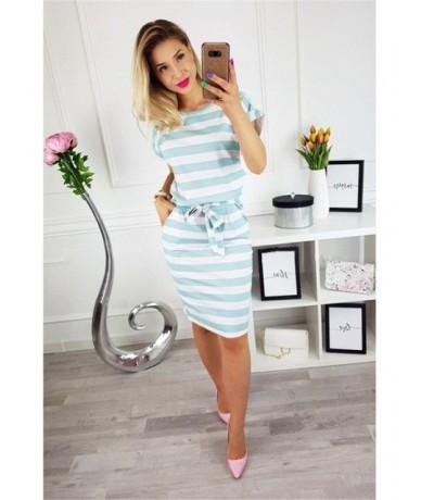 Women Straight Dress 2019 Summer Short Sleeve O-Neck Striped Slim Knee-Length Dress Plus Size 3XL Female Casual Dress Vestid...
