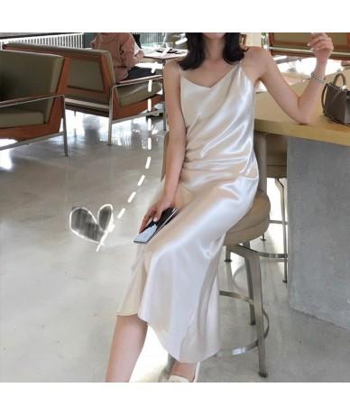 summer dress 2019 new sexy satin temperament long V collar sling bodycon midi women dresses - milky white - 4H4136430844-5