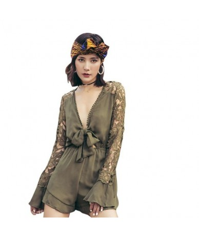 Sexy Lace Jumpsuits Linen Hollow Out Long Sleeve Playsuits Loose Women Deep V Lace Up Bodysuits Short Jumpsuits - Army Green...