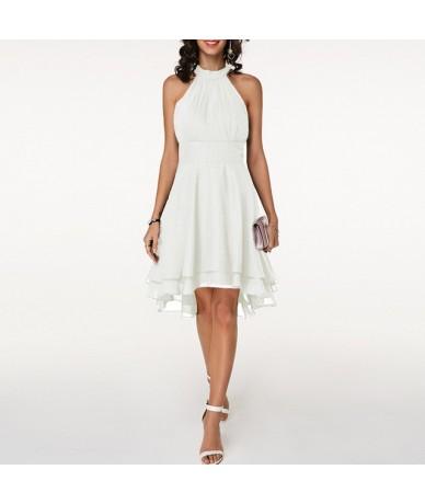 2019 Sexy Chiffon Summer Dresses Women Sleeveless Layered Asymmetric Pleated Short Party Dresses Elegant Ladies Dress Plus S...