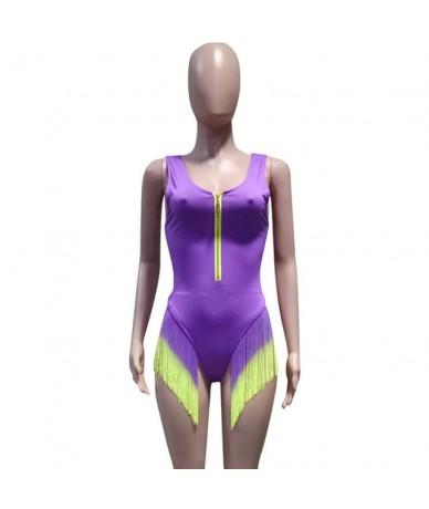 Gradient Tassels Bodysuit Sexy Deep V Neck Front Zipper Beach Summer Women Sleeveless Skinny One Piece Party Playsuit Overal...