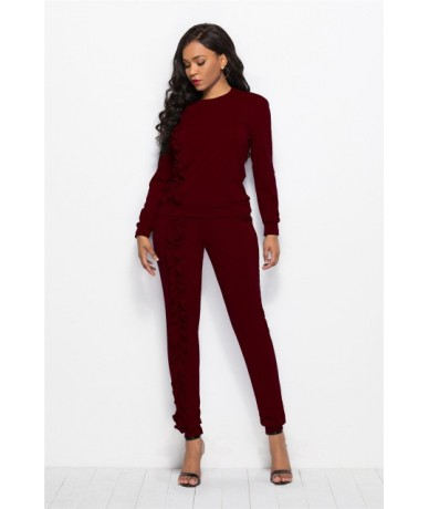 2018 Autumn Winter Ruffle Two Pieces Women Suits Round Collar Long Seeve Shirt Elastic Waist Pants Plus Size Female Workout ...