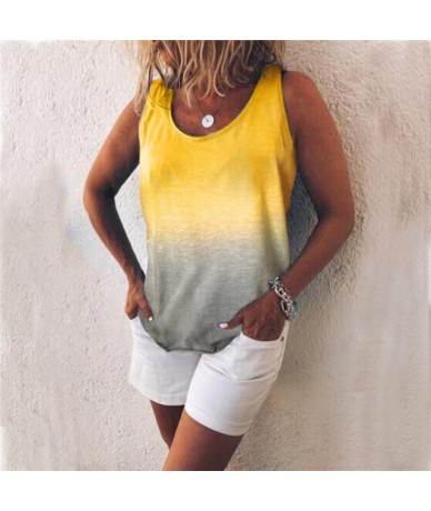 Fashion Casual Gradient T Shirt Women 2019 Summer Sleeveless O Neck Tshirt Loose Tank Tops Ladies T-shirt mujer Plus Size 5X...