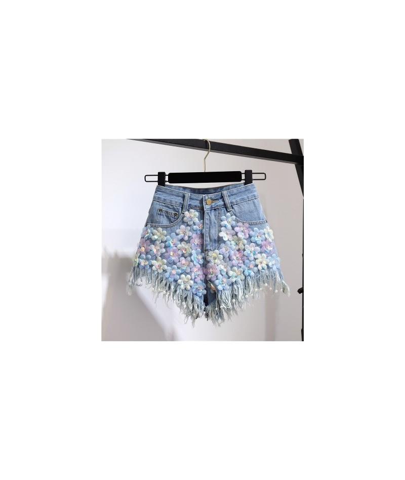 2019 Summer Autumn New Rhinestone Sequin Flower Beaded Tassel Jeans Women Fashion High Waist Denim Shorts MF888 - blue - 4J4...