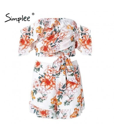 Off shoulder two piece jumpsuits rompers Women floral print jumpsuit short Summer 2018 ruffle sexy playsuit macacao - Print ...