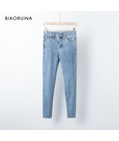 Women's Fashion Slim Stretching Pencil Jeans Female High Waist Ankle-Length Pant Washing Bleached Casual Jeans - - 5B111179...