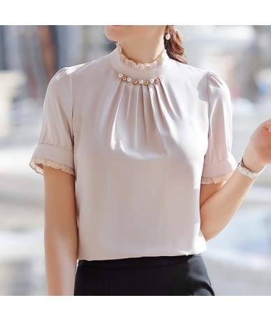 2019 Summer New fashion womens tops and blouses high quality stand collar short sleeve shirt for office lady formal workwear...
