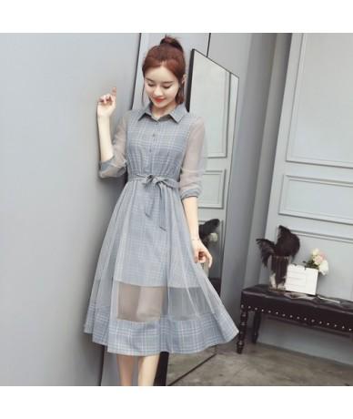 2019 Summer New Women Shirt Dress Elegant Slim Bandage Plaid Dress Ladies Sweet Long Mesh Beach Dress Female - Gray - 41307...