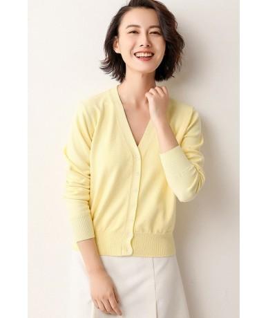 2019 Spring sales Fashion Short Cashmere Cardigan Women High Quality Power Flow Design - yelloe - 4Q3822670235-8