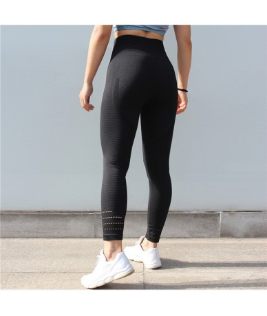 New Women's Fashion Seamless Leggings Athleisure Sporting Sweat Pants Hollow Sexy Lasdies Slim Workout Leggings - Black CK34...