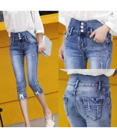 Summer Skinny Denim Capris Women Fashion Mid Waist Casual Ripped Hole Calf-Length Denim Pant Ladies Pencil Jeans Mujer 2019 ...