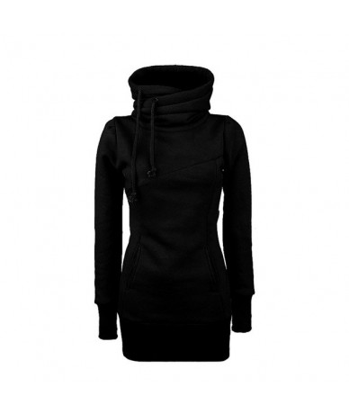 Women Lady Top Hoodie Long Sleeve Drawstring Pocket Solid Color For Autumn Winter SSA-19ING - Black - 4T4157889567-1