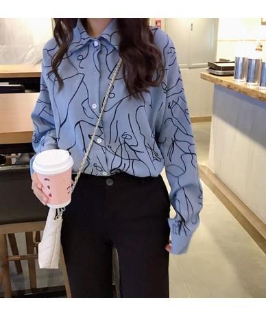 2019 New Fashion Woman Print Streetwear Shirt Single Breasted Turn down Collar Long Sleeve Cotton Feminina Hot Sales T8D433Z...