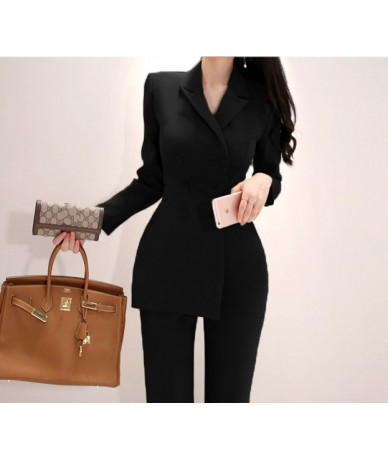 New fashion office OL Double-Breasted Women Jumpsuits Autumn Long Sleeve Irregular Work Wear Notched Collar Jumpsuit Overall...