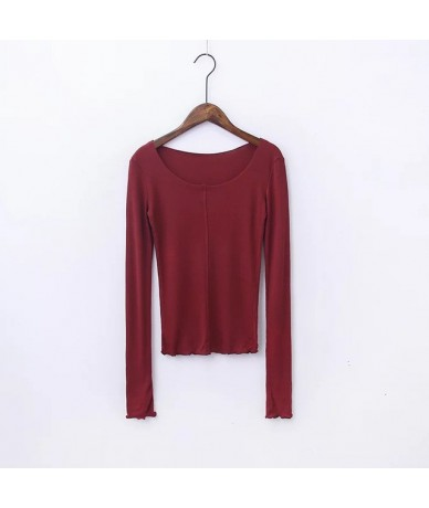 Sweet Dream Layering Top Super Soft and Finely Ribbed Long Sleeve Layering Top With Thumb Hole Slim T-shirt - darkred - 4438...