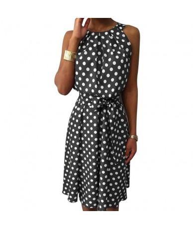Women Polka Dot Sleeveless Midi Dress Casual Summer Dress A-Line Boho Elegant Brown Long Dress - Grey - 483005649815-1