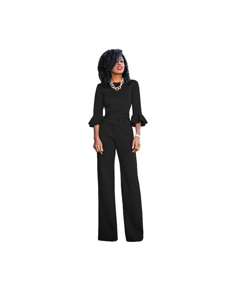 New Fashion Autumn Elegant Jumpsuits Women Wide Leg Casual Rompers Womens Jumpsuits Flare Sleeve Female Overalls - black - 4...
