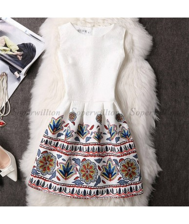 New Women Dress Vestidos 2018 Summer O-Neck Sleeveless Print Casual Party Dresses Women Vintage Princess Dress Ladies Clothi...