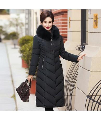 2019 Big Fur Collar Winter Coat Women Thick Parka Hooded Plus Size 5XL Long Winter Cotton Down Jacket Women Outwear For Mom ...