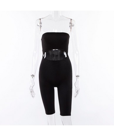 Fluorescence Slash Neck Playsuit Women Solid Sexy Hollow Out Backless Elastic Skinny Party Rompers Womens Jumpsuit - Black -...