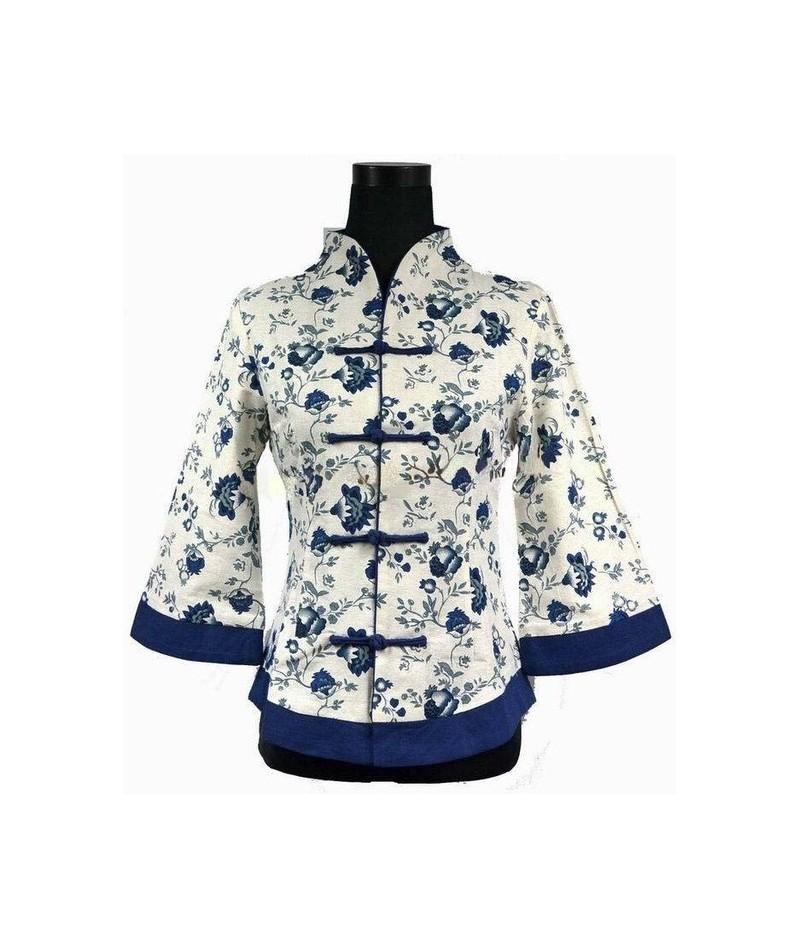 Nwe Chinese Womens Shirt Linen Tops Mandarin Collar Blouse Lady Clothing Fashion Jacket Top Dress Flowers M L XL XXL 3XL 4XL...