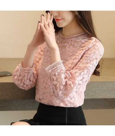 new fashion womens tops and blouses 2019 long sleeve sexy hollow lace blouse shirt women blouse lace tops women shirts 1636 ...