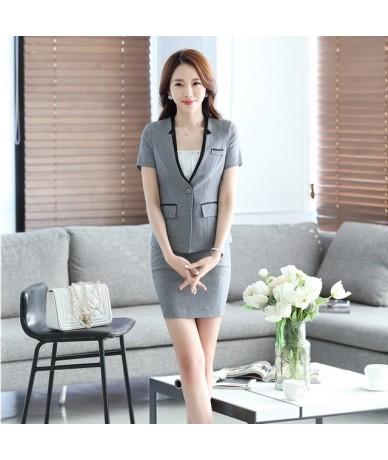 Summer Formal Women Elegant Skirt Suits Black Blazer and Jacket Sets Ladies Business Suits - Gray - 433919183087-2