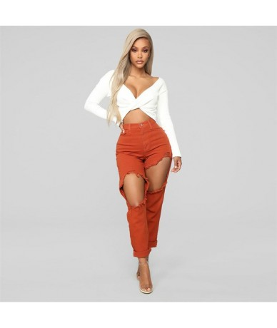 New Cotton Casual Pants Pencil Pants Wild European and American Popular Women's Jeans Leggings Hole plus size 2019 summer - ...
